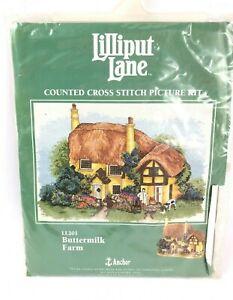 Anchor Lilliput Lane Buttermilk Farm Counted Cross Stitch Picture Kit  LL201 Vtg