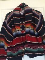 Melbourne Country Aztec Tribal Multi Color Cardigan Sweater Size Medium100% Wool