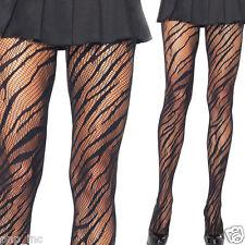 Women's Black Animal Print Striped Fishnet Diamond Net Pantyhose Stockings OS US