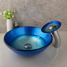 Us Bathroom Blue Tempered Glass Basin Vanity Sink Bowl Waterfall Faucet Combo