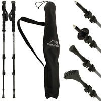 2 Telescopic Anti-Shock Carbon 3 Section Trekking Poles Hiking Nordic Walking