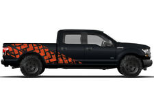 Vinyl Decal Wrap Kit TIRE TRACKS for Ford F-150 2015-17 ORANGE SuperCrew 6.5 Bed