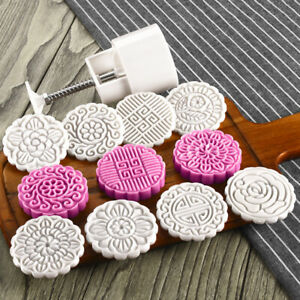 8 Styles Stamps Round Flower Moon Cake Mold Mould White Set Mooncake 100g DIY