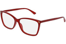 Authentic Gucci GG0025O 004 Red Plastic Rectangle Eyeglasses 56mm