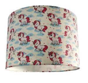 New 30 Cm Kids Room Unicorn Patern Fabric Lamp Shade Pendant 30 Cm Blue