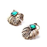 Art Deco Vintage Leaf Emerald Green Crystal ~  Antiqued Gold Drop Earrings