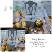 12 pcs Silver Chair Party Candy/Favor Box and Card Holder