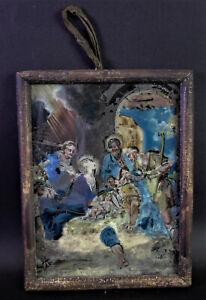 antikes Hinterglasbild - WEIHNACHTEN - Stall zu Bethlehem - Oberammergau