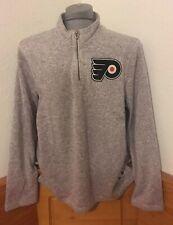 adidas Philadelphia Flyers Gray Team Logo Quarter-Zip Pullover Jacket New NHL
