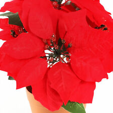 Red Christmas Artificial Poinsettia in Plant Pot Indoor 32cm