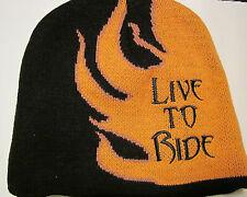 "Live to Ride  Black/Orange  Knit  Beanie   Cap"" Freeze Warning"