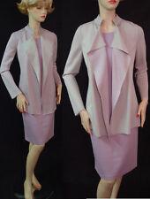 $1990 NWTY ST JOHN MILANO KNIT DRESS SUIT SZ 2 REVERSIBLE JKT, PLATINUM/WISTERIA