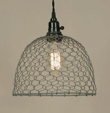 Country new Barn roof gray CHICKEN WIRED hanging light / PLUG IN LIGHT