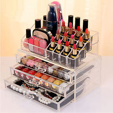 Acrylic Cosmetic Make-up & Jewellery Organizer Cosmetic Storage Rack Box Case