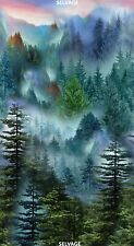 "23"" Fabric Panel - Timeless Treasures Mountain Vista Misty Forest Scene"
