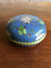 Vintage Chinese Cloisonne Blue Circular Lidded Trinket Box