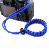 Blue Adjustable Braided Camera Wrist Strap Bracelet Camera Accessories CF