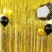Gold Foil Fringe Tassel Curtain Wedding Birthday Party Backdrop Decor 1x2 Meters