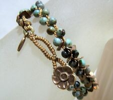 Love Heals Be Creative Turquoise Bead Double Wrap Bracelet Knotted Metal 117hdz