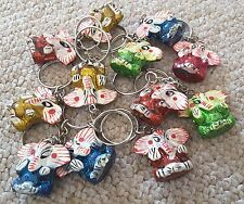 Handmade Painted Wood Elephant Keyrings Many colours Original from INDIA
