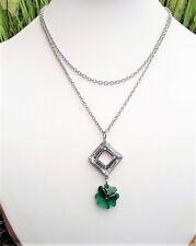 Collier trèfle vert émeraude, pendentif carré cristal Swarovski chaine en acier