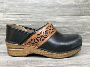 DANSKO Size 36 US 5.5 / 6 Black & Brown Full Grain Leather PAVAN Clog 340021202