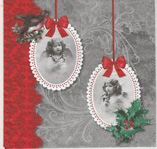 2 Serviettes en papier Anges Vintage - Paper Napkins Angels