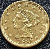 1880 Quarter Eagle $2.5 Gold Liberty Head Rare Date VF Details #19732