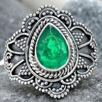 Filigree - Zambian Emerald 925 Sterling Silver Ring Jewelry s.7 SDR69295