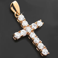 Religious CROSS CZ ENCRUSTED 24k GOLD Layered Charm Pendant |LIFETIME GUARANTEE