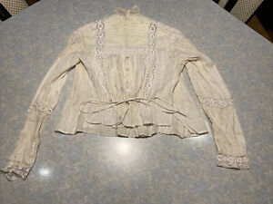 Edwardian Victorian Beige Chamisole Lace Button Tie Long Sleeve Top S