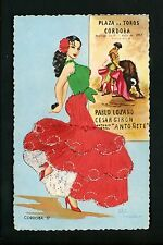 Embroidered clothing postcard Artist Gumier woman Spain Cordoba bull fighting