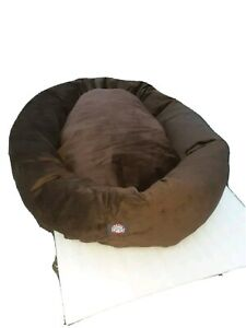 """XL Dog Bed Chocolate Brown Pet Extra Large Breed Majestic Bagel Style Suede 52"""""""
