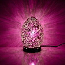 Fabulous Mini Mosaic Glass Crackle Rose Pink Egg Table Lamp ,Desk ,Bedside