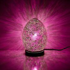 Fabulous Mini Mosaic Glass Crackle Rose Pink Egg Table Lamp ,Desk ,Bedside