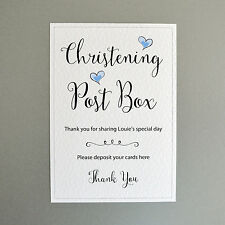 Personalised Christening Post Box Sign - Blue Hearts - 260gsm Hammer Card