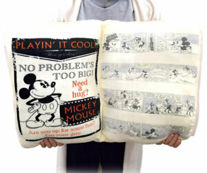 RARE Disney Mickey Book Type Cushion from JAPAN 55cm 22in Limited to japan