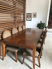 Solid Mahogany Wood Double Extension Dining Table, 8 Seater (chairs Included)
