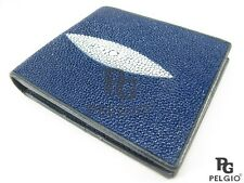 PELGIO Real Genuine Stingray Skin Leather Men's Bifold Credit Card Wallet Blue