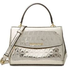 34f8248aaaf3 New Michael Kors Ava Mini XS Crossbody Glimmering leather bag Champagne  holiday