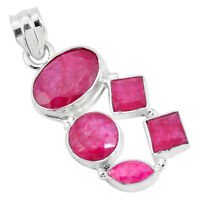 15.64cts Natural Red Ruby 925 Sterling Silver Pendant Jewelry P29013