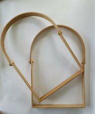 """2 Basket Weaving Swing D Handles 10"""" x 14"""" Wood"""