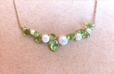 "Freshwater pearl peridot briolette gemstone necklace 16"" 14k white gold ROXY"