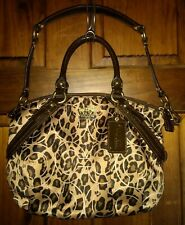 Coach Madison Ocelot Leopard Print OP Art Sophia Satchel Bag 17764 Brown