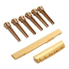 Set Of 6pcs Brass Bridge Pins w/ Saddle Nut Accessories Kits for Acoustic Guitar