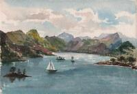 BOATS AT ULLSWATER LAKE DISTRICT Victorian Watercolour Painting 1891