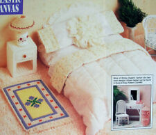 Plastic Canvas Pattern Only:  Barbie's 4-Piece Bedroom Set: Bed, Rug, Lamp Table