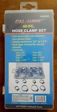 40-pc. Hose Clamp Set Zinc Plated Worm Gear Type Clamps Multiple Sizes and Case