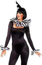Harlequin Striped Neck Piece, Arm Cuffs, & Hat Costume Kit Accessory Adult Women