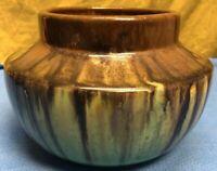 Beautiful Vintage Fulper Bowl. Green, Black Brown Drip Glaze.
